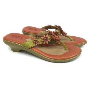 Born Coral Leather Flower Sandals Flip Flops Sz 8